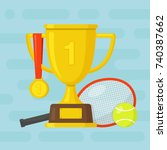 tennis racket and ball with... | Shutterstock .eps vector #740387662