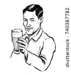 man with a glass of beer | Shutterstock . vector #740387782