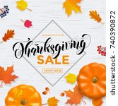 thanksgiving sale poster or... | Shutterstock .eps vector #740390872