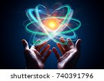 hands holding abstract digital... | Shutterstock . vector #740391796