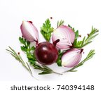 vegetable red onion with... | Shutterstock . vector #740394148