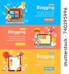blogging flyer banners posters... | Shutterstock .eps vector #740395996