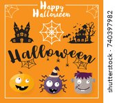 halloween background vector... | Shutterstock .eps vector #740397982