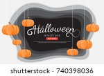 halloween background vector... | Shutterstock .eps vector #740398036