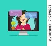flat cartoon girl in headset... | Shutterstock .eps vector #740398375