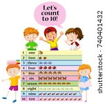 kids counting numbers on chart... | Shutterstock .eps vector #740401432
