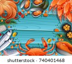 seafood over blue wooden sea... | Shutterstock .eps vector #740401468
