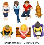 top view of people sitting... | Shutterstock .eps vector #740401492