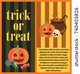 trick or treat halloween card... | Shutterstock .eps vector #740403826