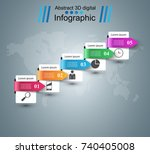 3d infographic design template... | Shutterstock .eps vector #740405008