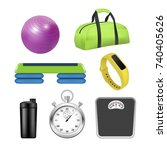 vector fitness icon set.... | Shutterstock .eps vector #740405626