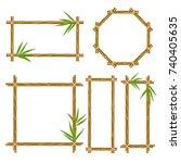 vector bamboo frame set. wooden ... | Shutterstock .eps vector #740405635