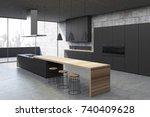 concrete kitchen interior with... | Shutterstock . vector #740409628