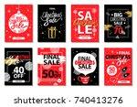 final big christmas sale set of ... | Shutterstock .eps vector #740413276