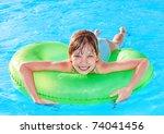 children sitting on inflatable... | Shutterstock . vector #74041456