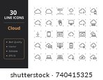 30 cloud line icons | Shutterstock .eps vector #740415325