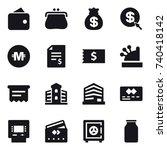 16 vector icon set   wallet ...   Shutterstock .eps vector #740418142