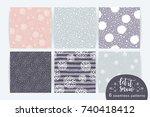 vector set of winter seamless... | Shutterstock .eps vector #740418412