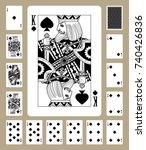 playing cards of spades suit in ... | Shutterstock .eps vector #740426836