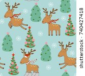 merry christmas and happy new... | Shutterstock .eps vector #740427418