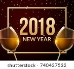 new year or xmas flyer holiday... | Shutterstock .eps vector #740427532