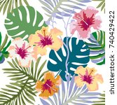 aloha tropical print. seamless... | Shutterstock .eps vector #740429422