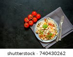 seafood noodles. pasta with... | Shutterstock . vector #740430262