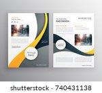 stylish yellow gray business... | Shutterstock .eps vector #740431138