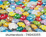 Car traffic jam - stock vector