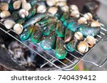 fresh cockle and fresh mussel... | Shutterstock . vector #740439412