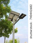 a solar street lamp by the park | Shutterstock . vector #740442682