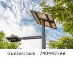 a solar street lamp by the park | Shutterstock . vector #740442766