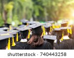 back of graduates during...   Shutterstock . vector #740443258