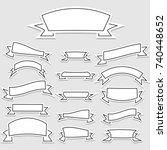 set of vector banner ribbons in ... | Shutterstock .eps vector #740448652