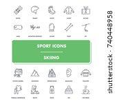 line sport icons set. skiing...