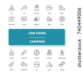 line icons set. camping pack.... | Shutterstock .eps vector #740449006