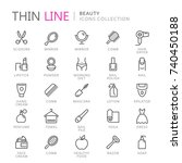 collection of beauty thin line... | Shutterstock .eps vector #740450188