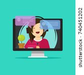 flat cartoon girl in headset... | Shutterstock . vector #740451202