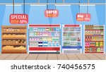 supermarket store interior with ... | Shutterstock . vector #740456575