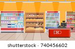 supermarket store interior with ... | Shutterstock . vector #740456602