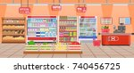 supermarket store interior with ... | Shutterstock . vector #740456725