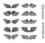 set of different vector wings... | Shutterstock .eps vector #740457655