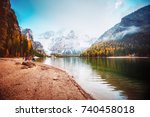 scenic image of alpine lake... | Shutterstock . vector #740458018