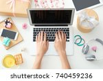 hands of beauty blogger with... | Shutterstock . vector #740459236