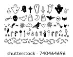 set of isolated scary elements. ...   Shutterstock .eps vector #740464696