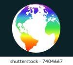 terrestrial globe with rainbow... | Shutterstock .eps vector #7404667