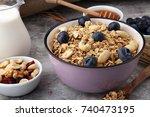 oat flakes with milk  honey ... | Shutterstock . vector #740473195