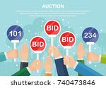 auction competition. hand... | Shutterstock .eps vector #740473846