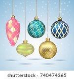 christmas balls ornaments...   Shutterstock .eps vector #740474365
