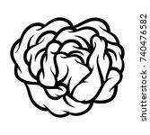 flower rose  black and white.... | Shutterstock .eps vector #740476582